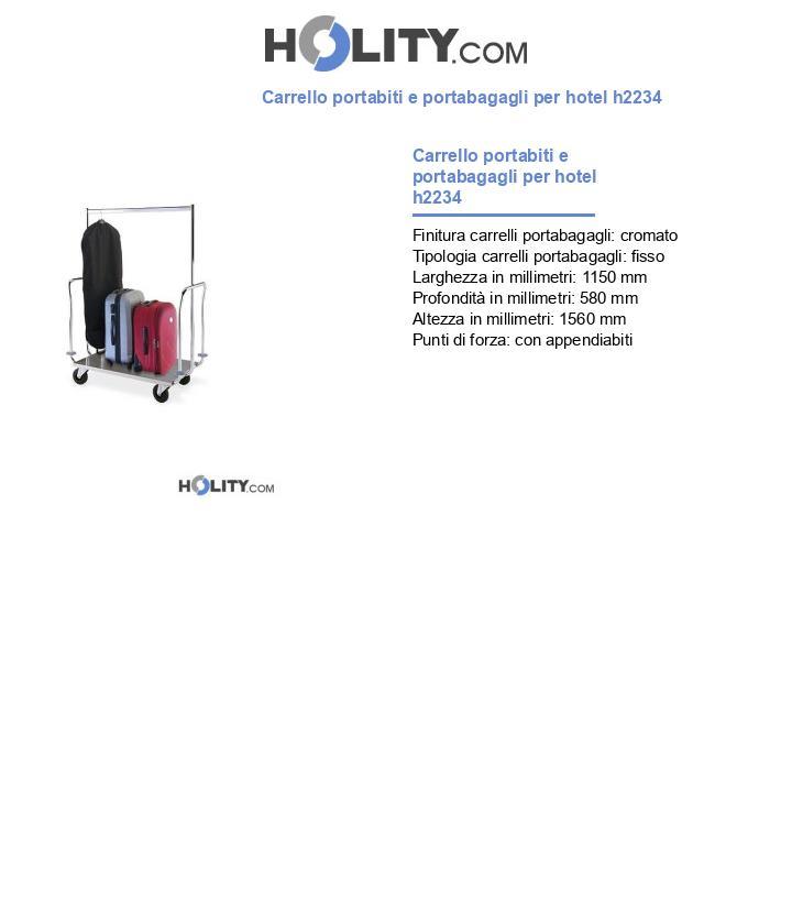 Carrello portabiti e portabagagli per hotel h2234