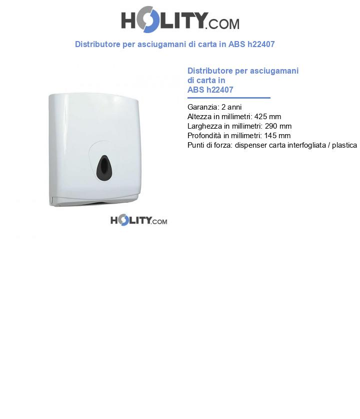 Distributore per asciugamani di carta in ABS h22407