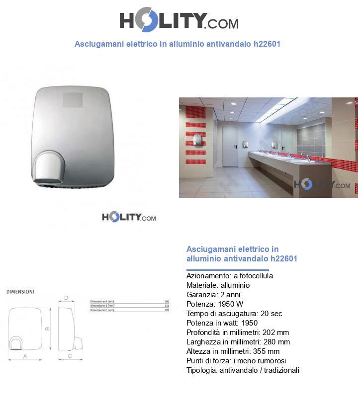 Asciugamani elettrico in alluminio antivandalo h22601