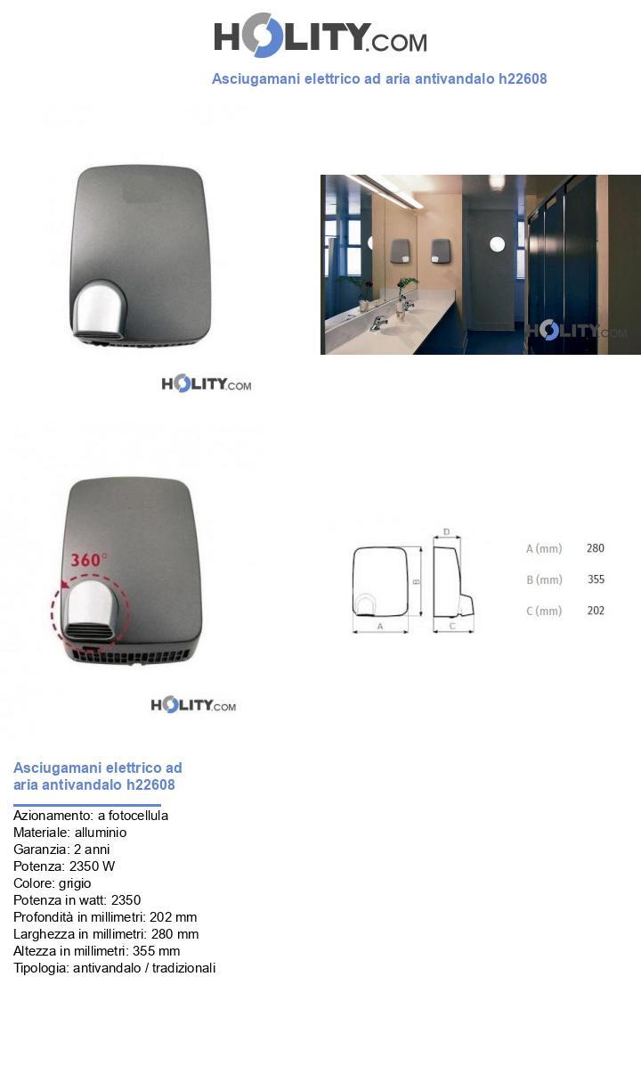 Asciugamani elettrico ad aria antivandalo h22608