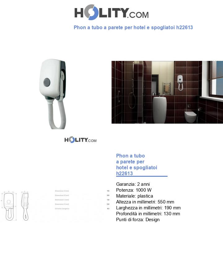Phon a tubo a parete per hotel e spogliatoi h22613