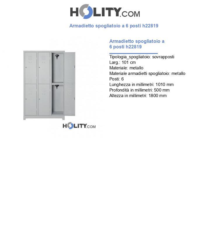 Armadietto spogliatoio a 6 posti h22819