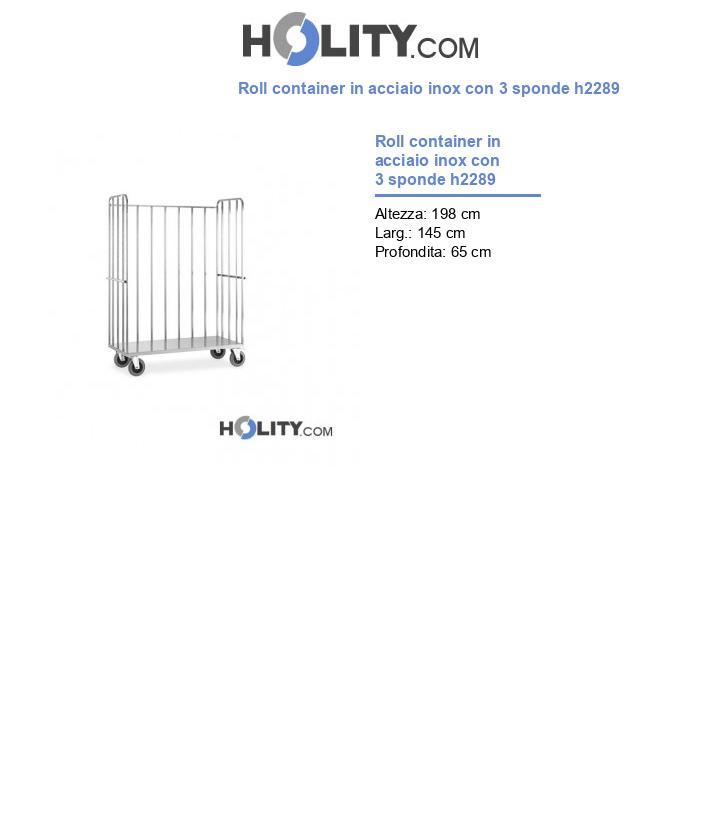 Roll container in acciaio inox con 3 sponde h2289