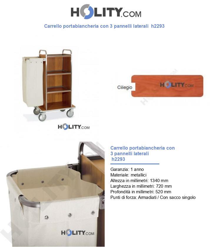 Carrello portabiancheria con 3 pannelli laterali  h2293
