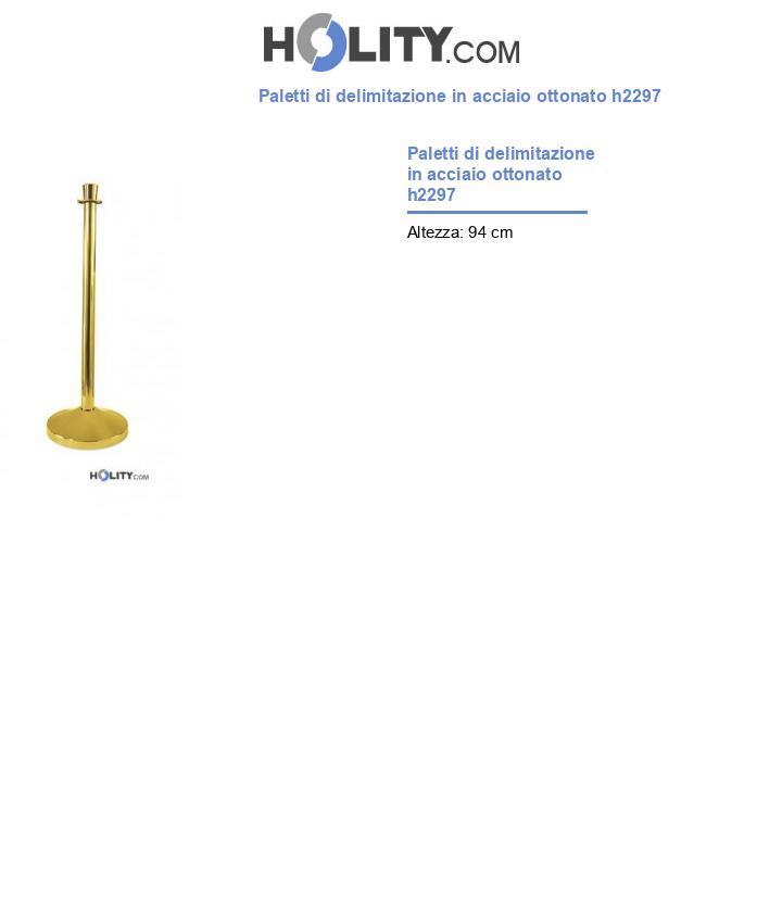Paletti di delimitazione in acciaio ottonato h2297