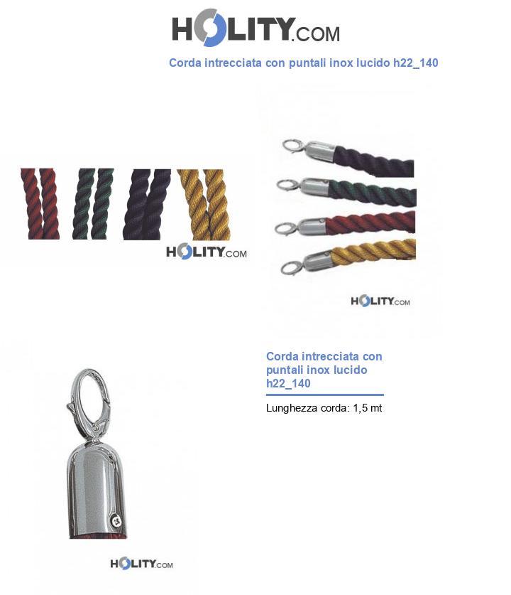 Corda intrecciata con puntali inox lucido h22_140