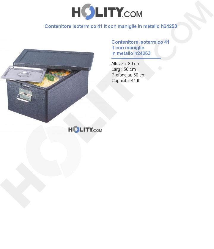 Contenitore isotermico 41 lt con maniglie h24253