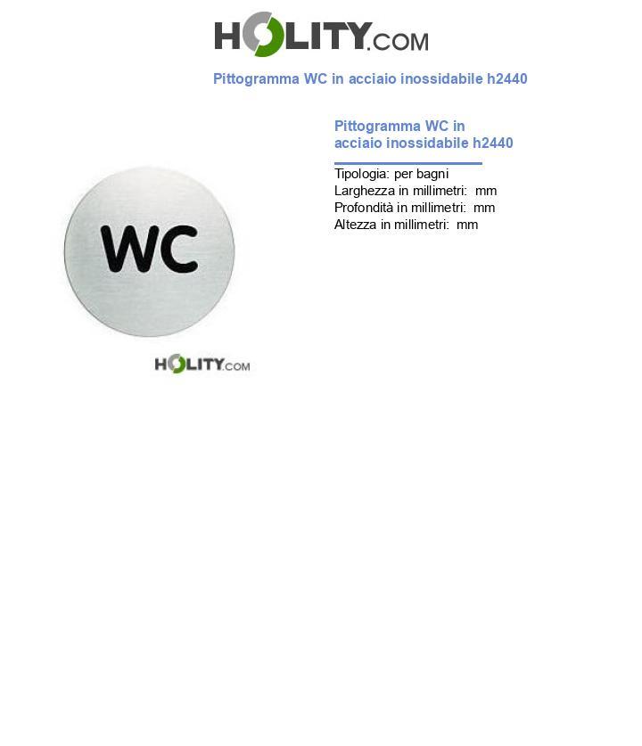 Pittogramma WC in acciaio inossidabile h2440