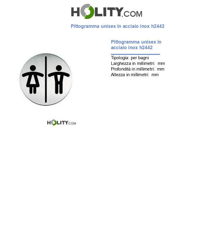 Pittogramma unisex in acciaio inox h2442