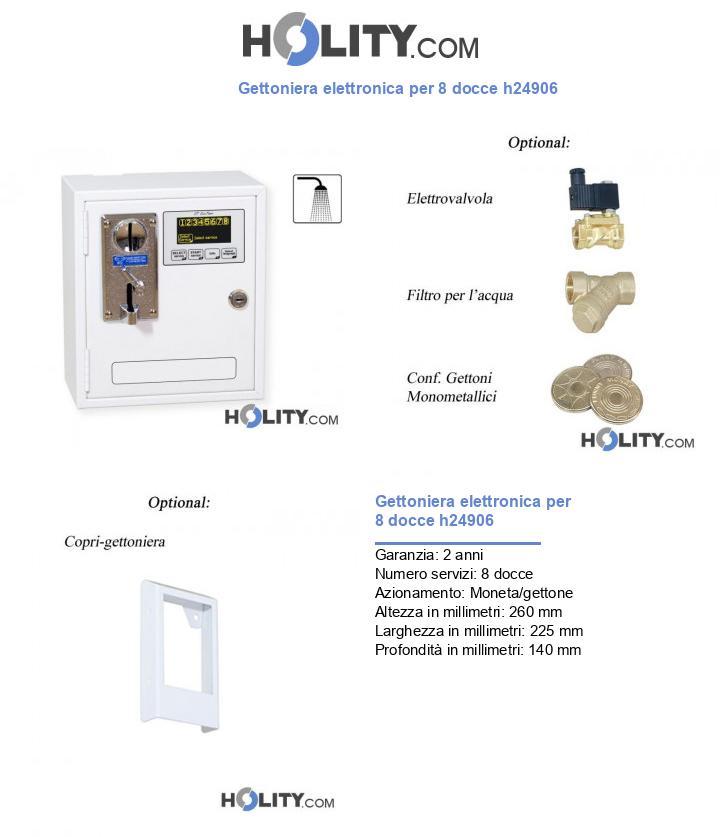 Gettoniera elettronica per 8 docce h24906