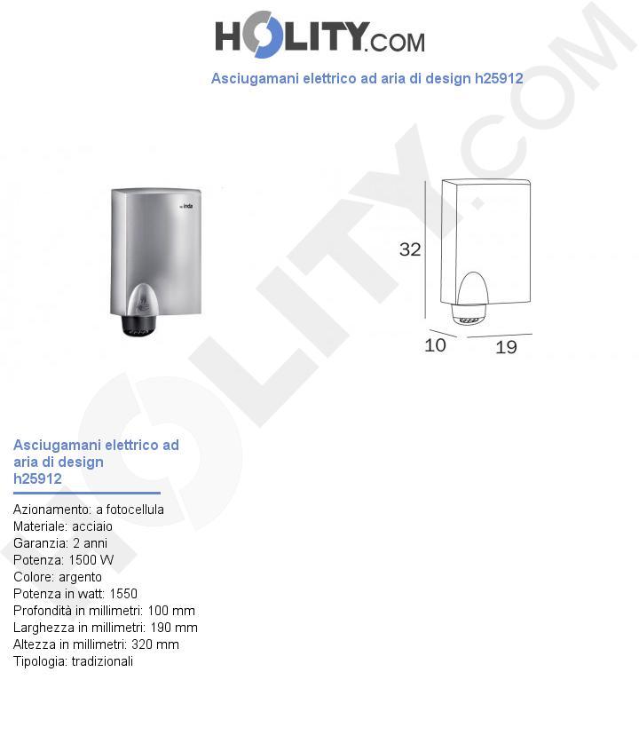 Asciugamani elettrico ad aria di design h25912