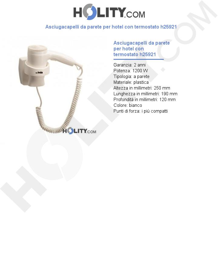 Asciugacapelli da parete per hotel con termostato h25921
