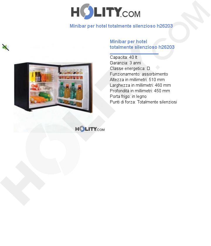 Minibar per hotel totalmente silenzioso h26203