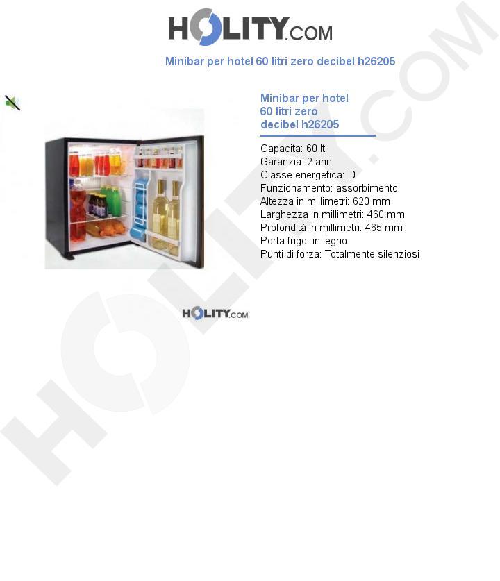 Minibar per hotel 60 litri zero decibel h26205
