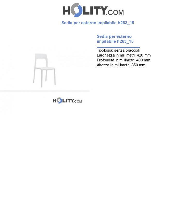 Sedia per esterno impilabile h263_15