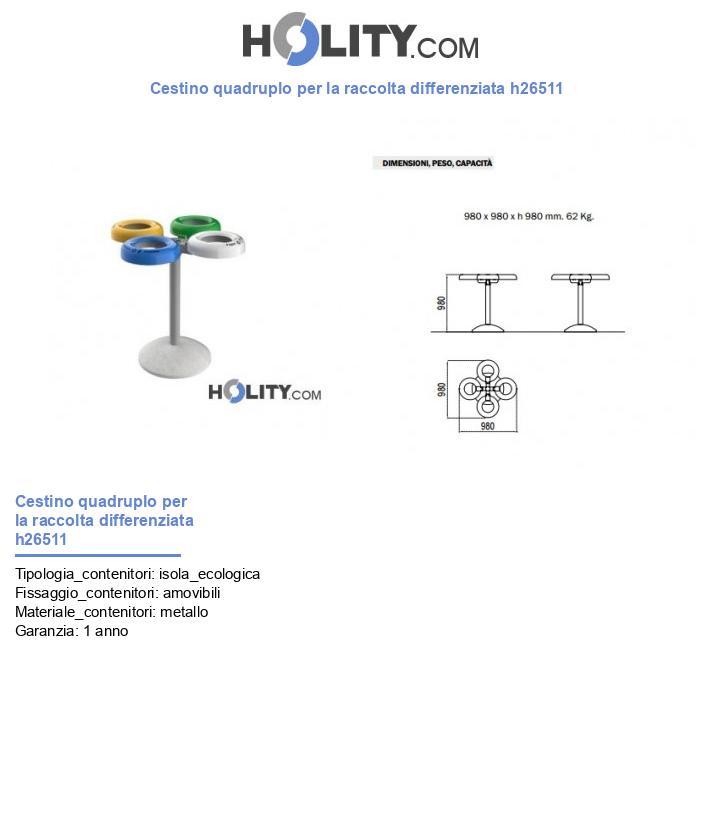 Cestino quadruplo per la raccolta differenziata h26511