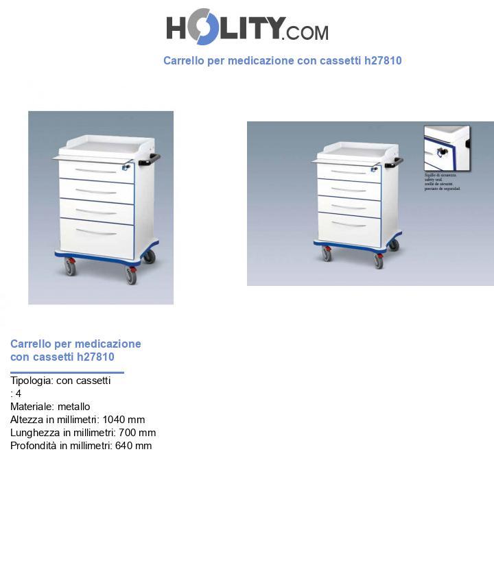Carrello per medicazione con cassetti h27810