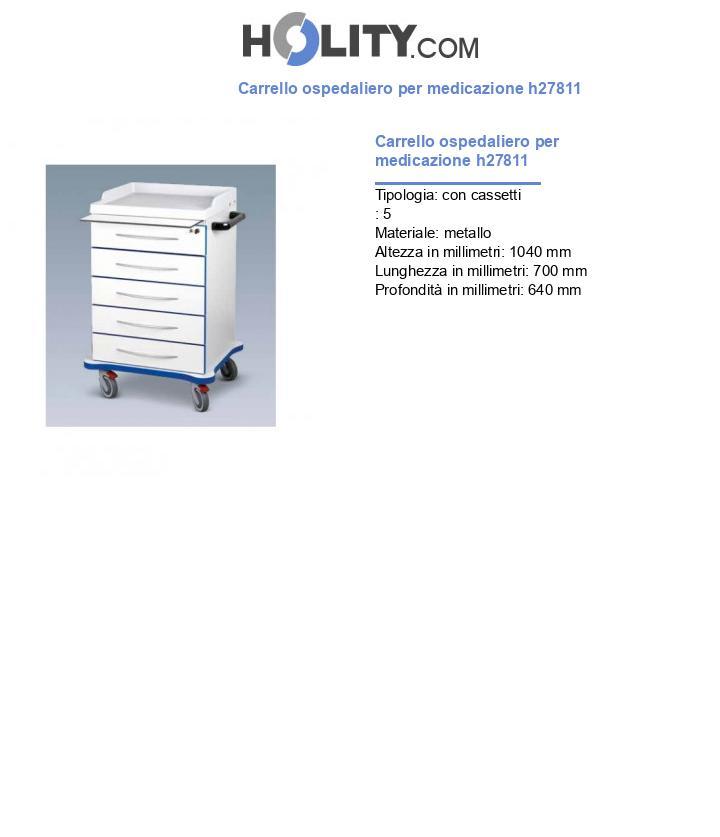 Carrello ospedaliero per medicazione h27811