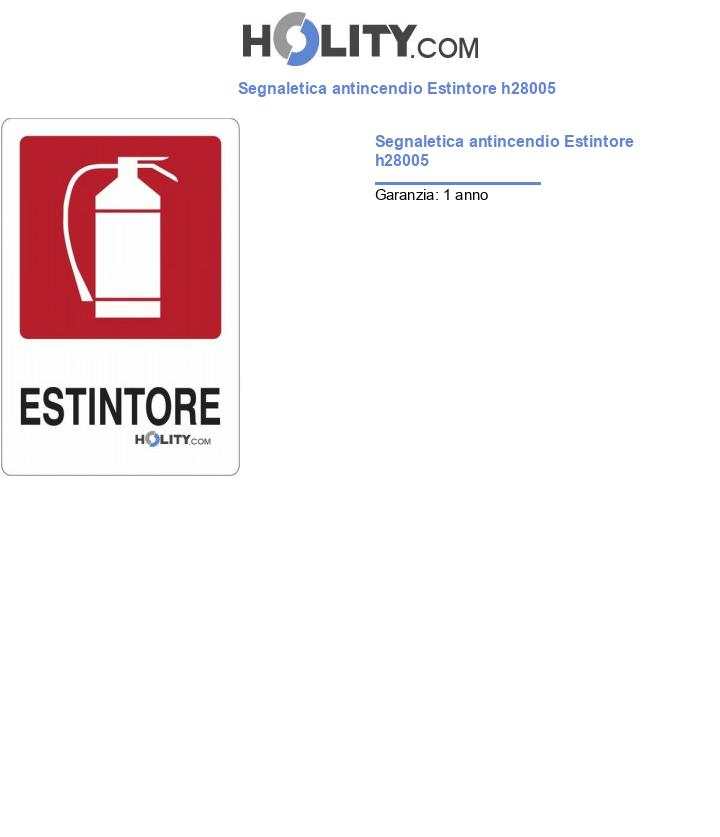 Segnaletica antincendio Estintore h28005