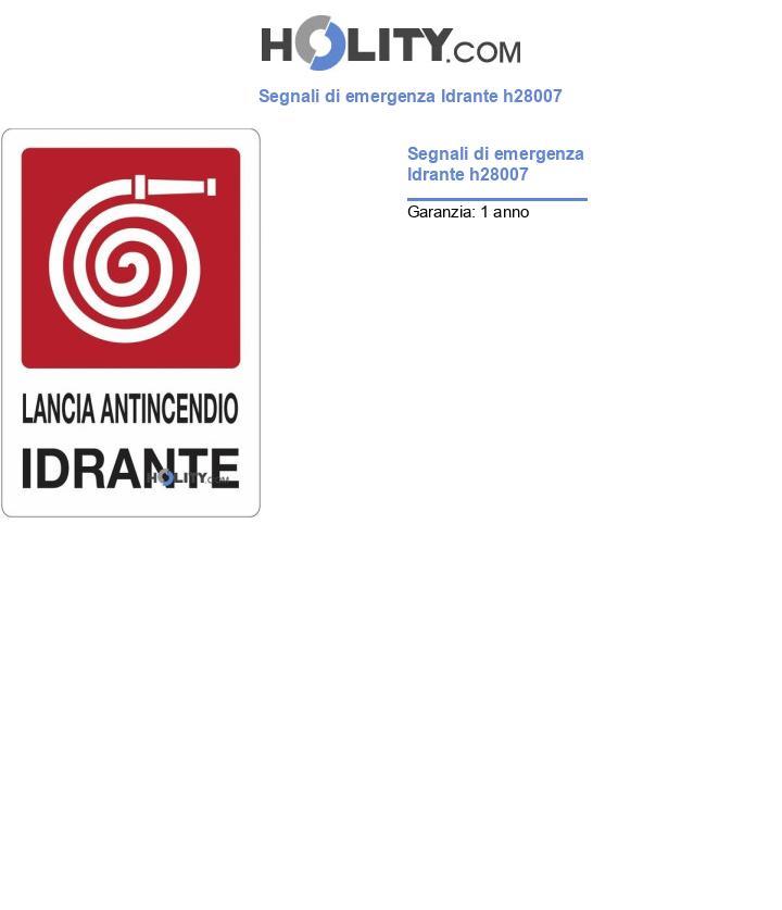 Segnali di emergenza Idrante h28007