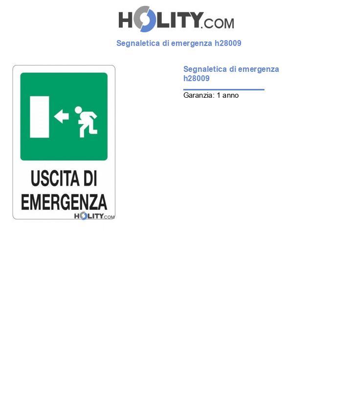 Segnaletica di emergenza h28009