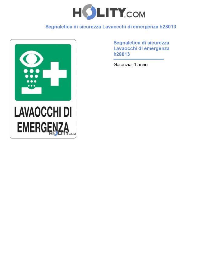 Segnaletica di sicurezza Lavaocchi di emergenza h28013