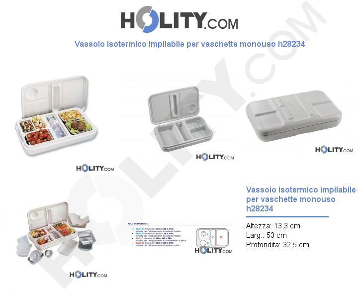Vassoio isotermico impilabile per vaschette monouso h28234