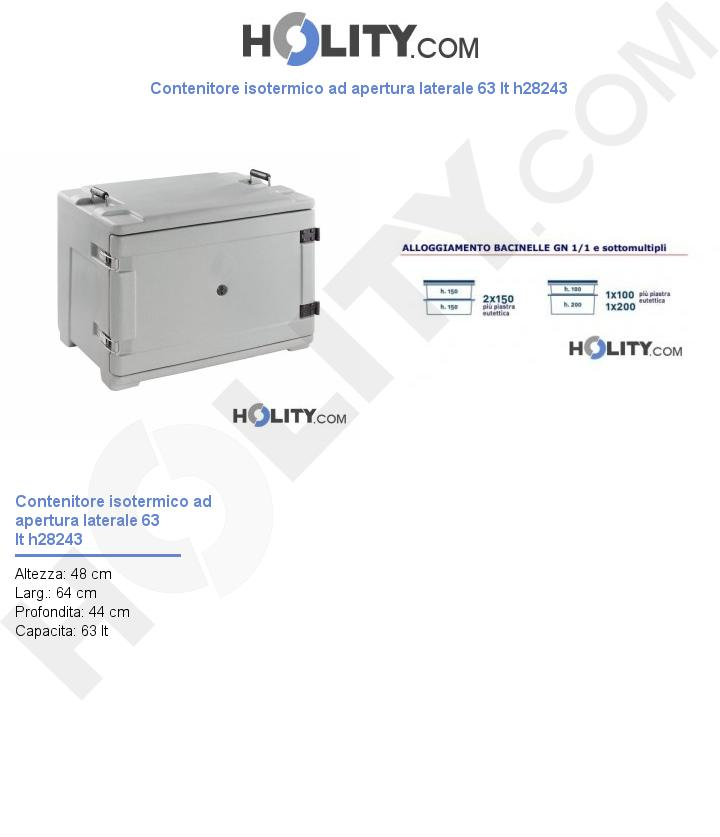 Contenitore isotermico ad apertura laterale 63 lt h28243