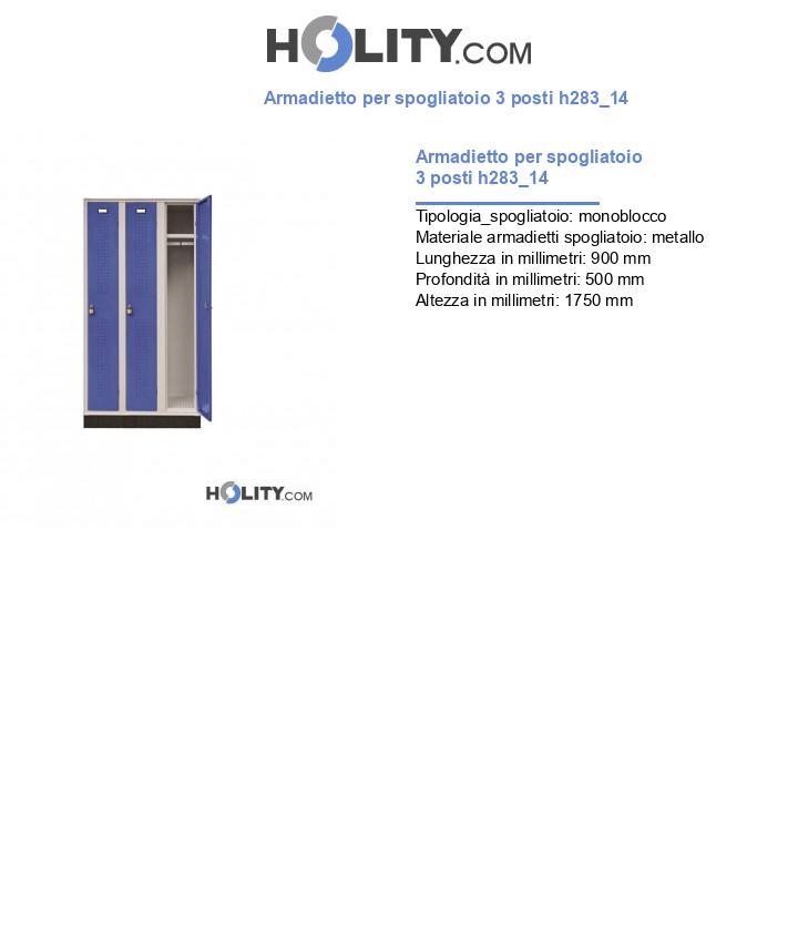 Armadietto per spogliatoio 3 posti h283_14