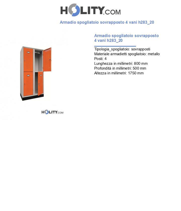 Armadio spogliatoio sovrapposto 4 vani h283_20