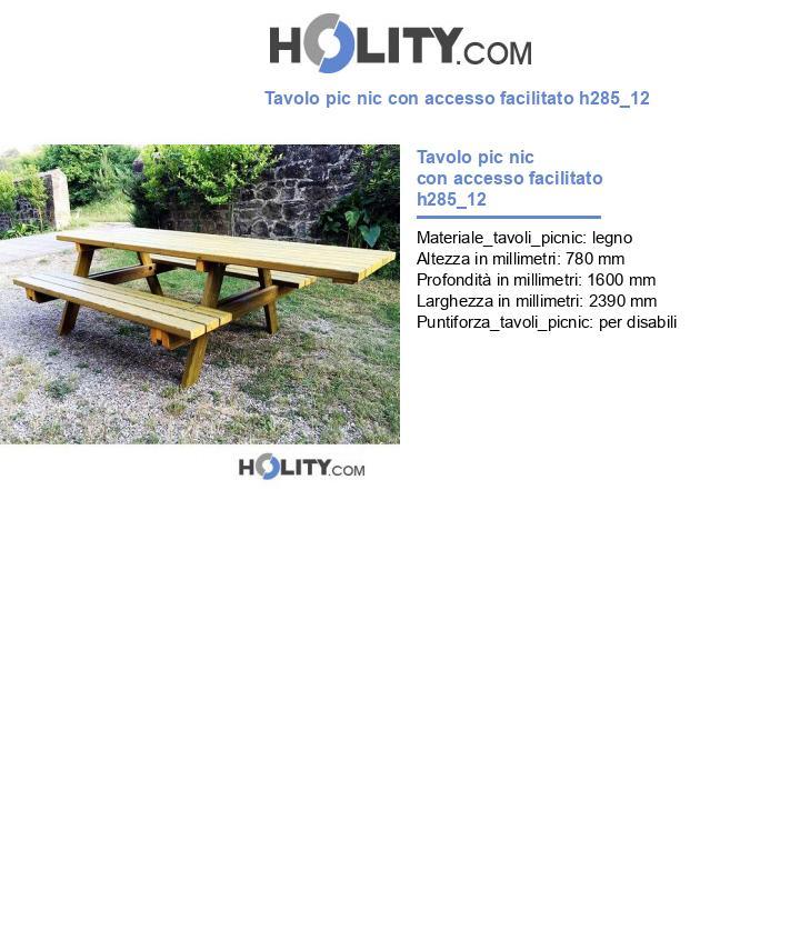 Tavolo pic nic con accesso facilitato h285_12