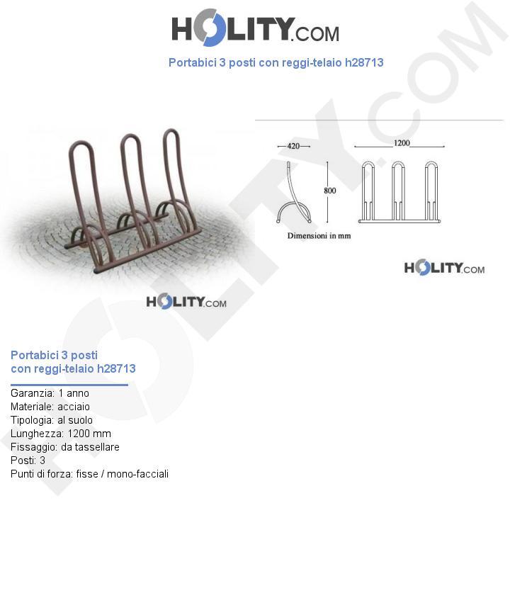 Portabici 3 posti con reggi-telaio h28713