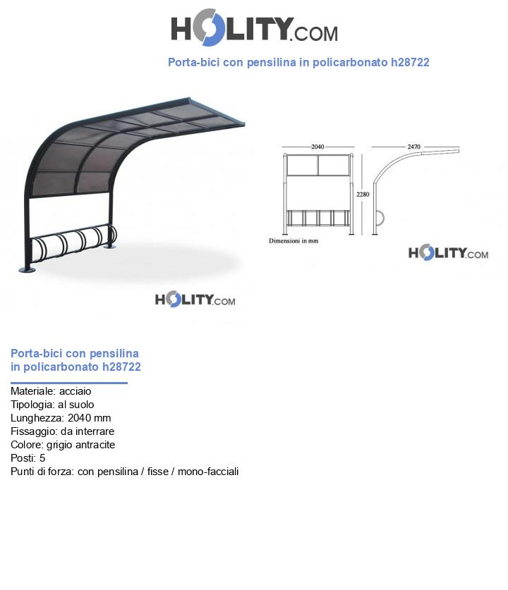 Porta-bici con pensilina in policarbonato h28722