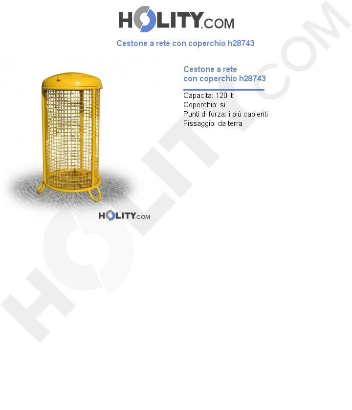 Cestone a rete con coperchio h28743