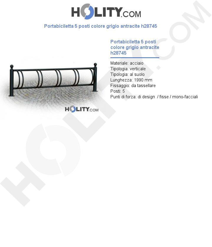 Portabiciletta 5 posti colore grigio antracite h28745