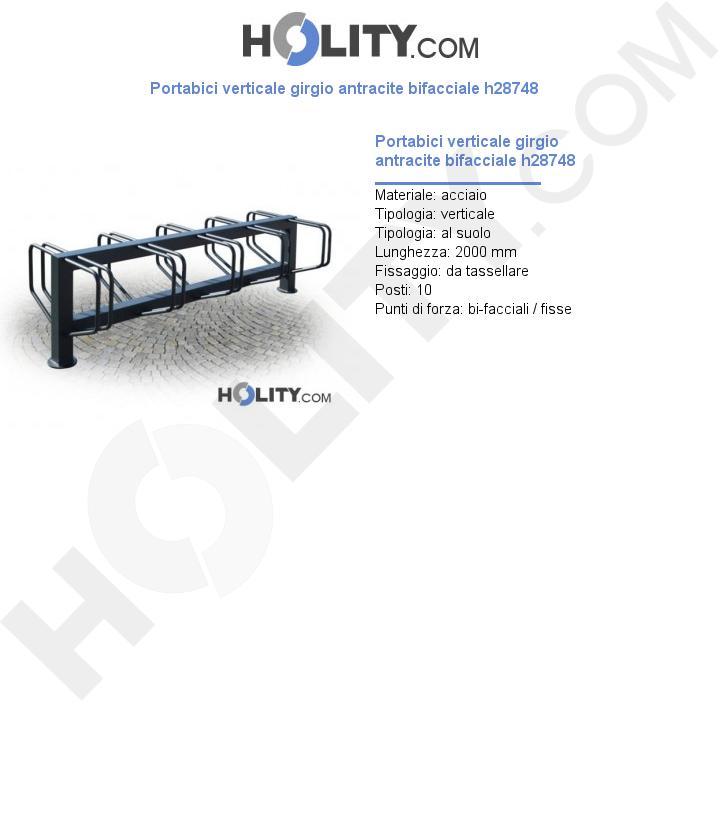 Portabici verticale girgio antracite bifacciale h28748