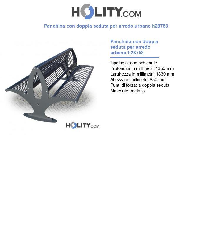 Panchina con doppia seduta per arredo urbano h28753