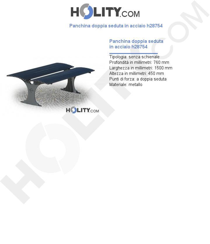Panchina doppia seduta in acciaio h28754