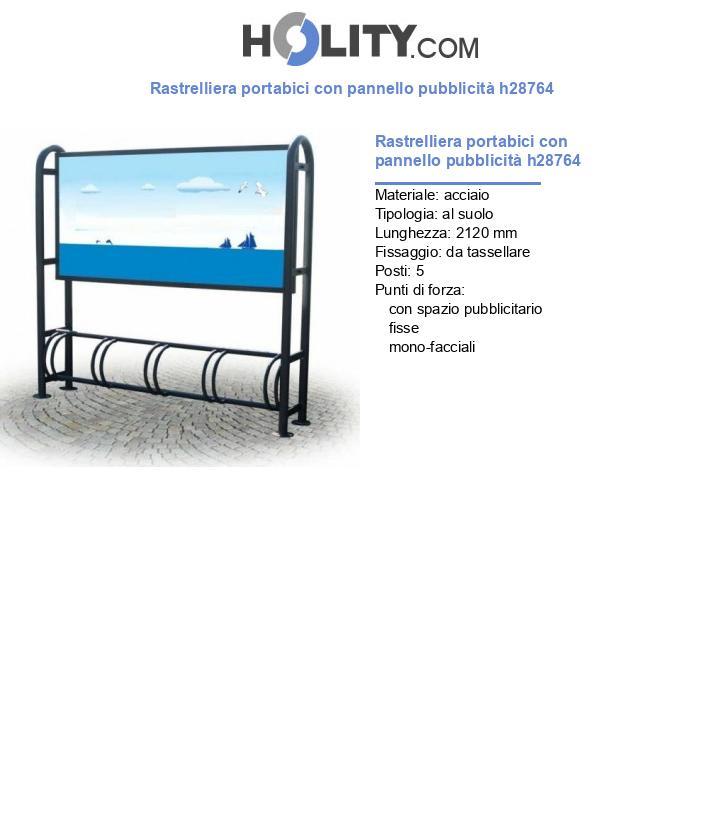 Rastrelliera portabici con pannello pubblicità h28764