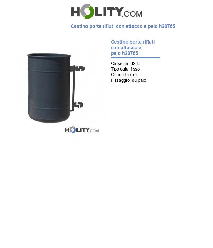 Cestino porta rifiuti con attacco a palo h28765