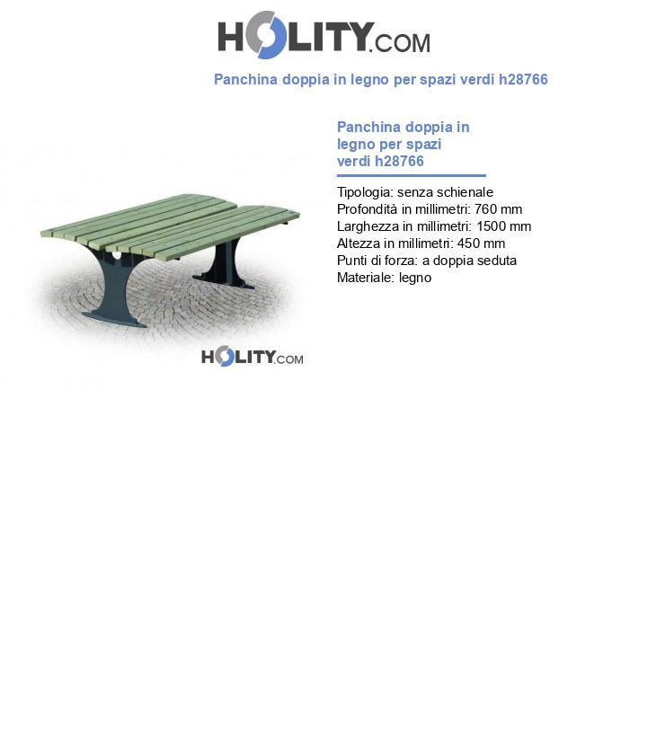 Panchina doppia in legno per spazi verdi h28766