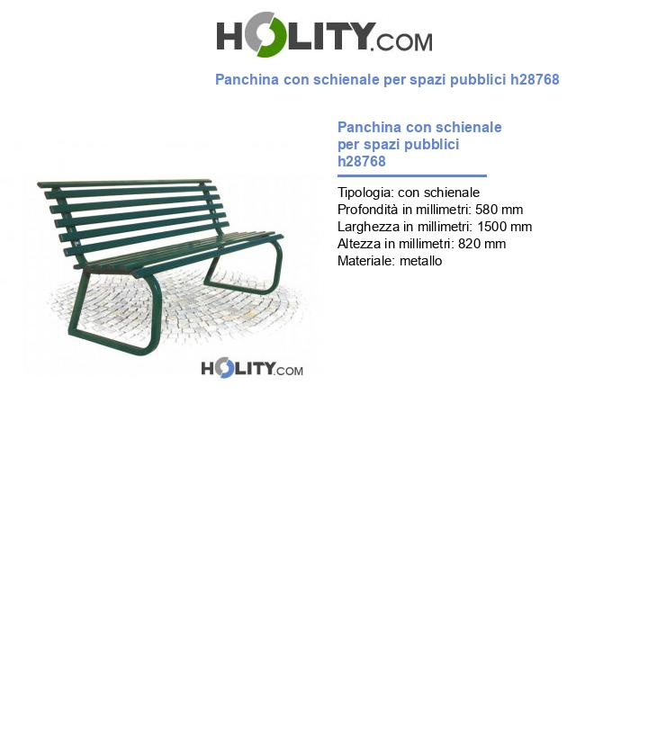 Panchina con schienale per spazi pubblici h28768