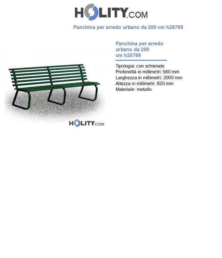 Panchina per arredo urbano da 200 cm h28769