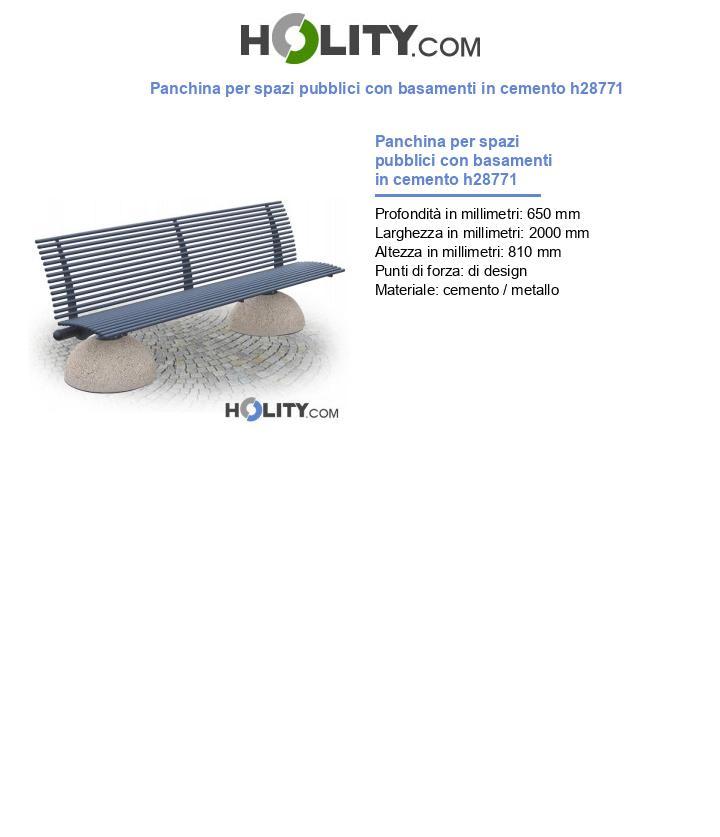 Panchina per spazi pubblici con basamenti in cemento h28771