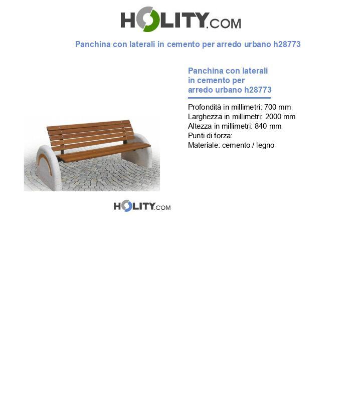 Panchina con laterali in cemento per arredo urbano h28773