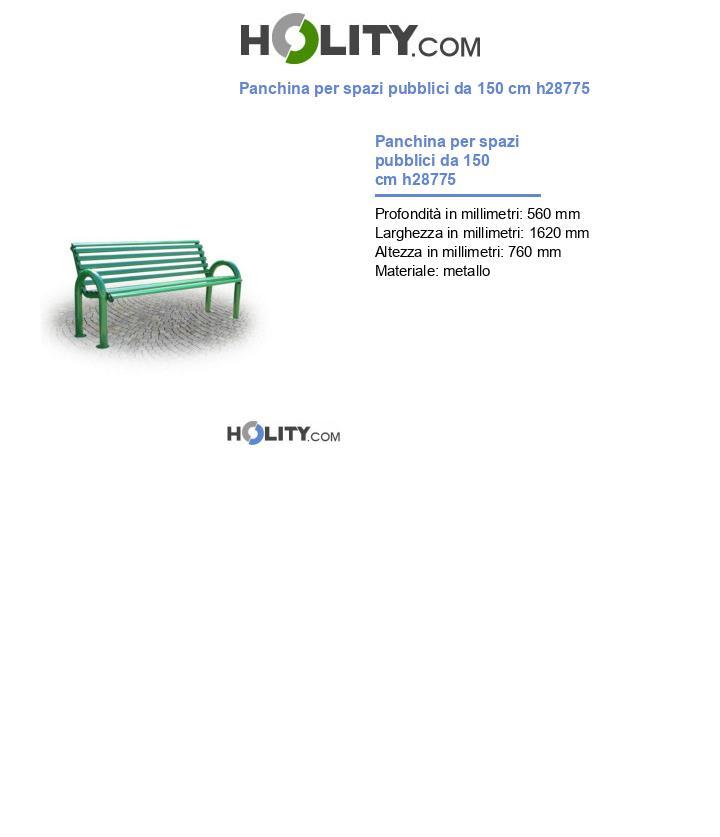 Panchina per spazi pubblici da 150 cm h28775