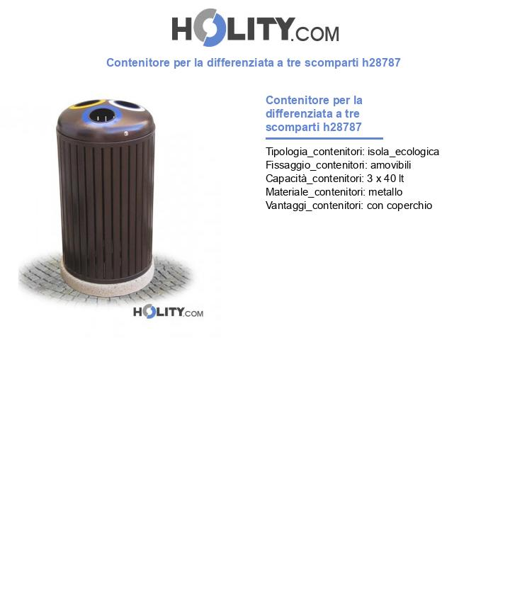 Contenitore per la differenziata a tre scomparti h28787
