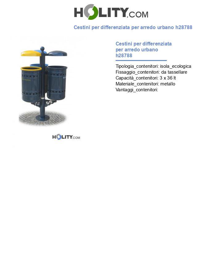 Cestini per differenziata per arredo urbano h28788
