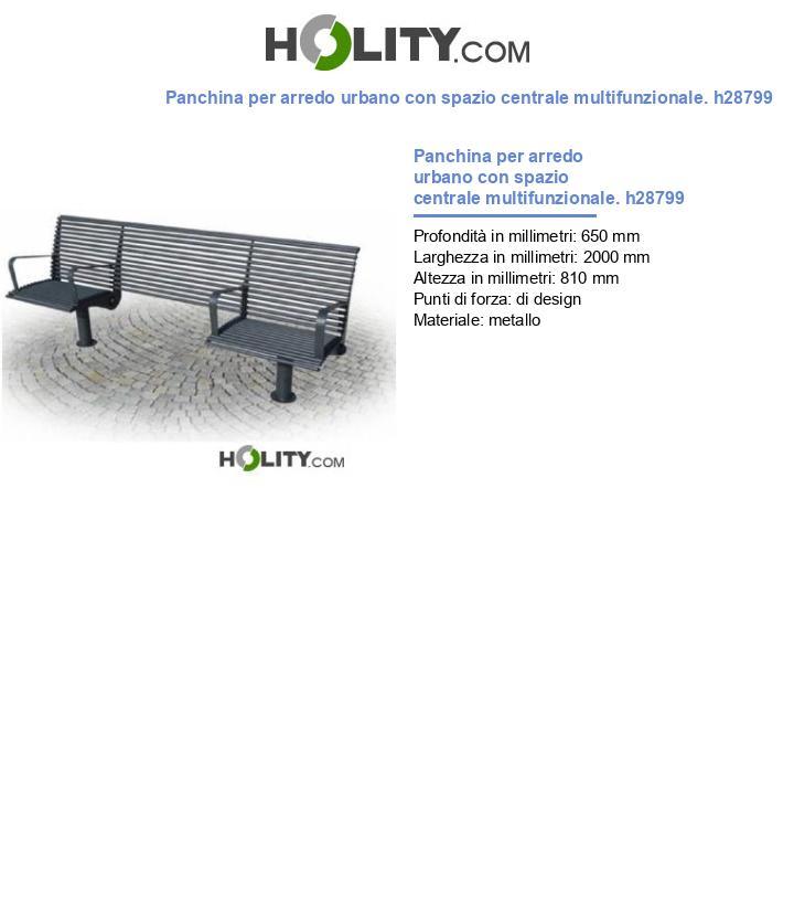 Panchina per arredo urbano con spazio centrale multifunzionale. h28799
