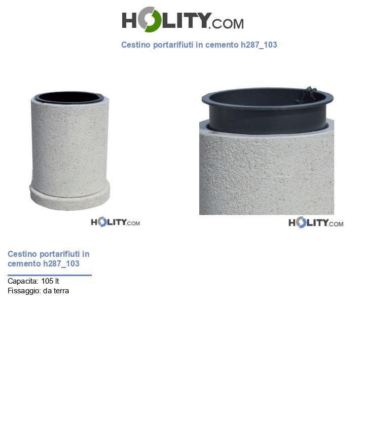 Cestino portarifiuti in cemento h287_103